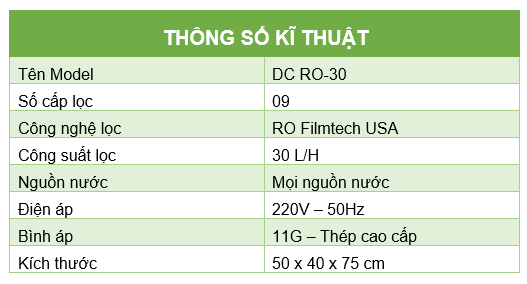 Thong so ki thuat RO DC30