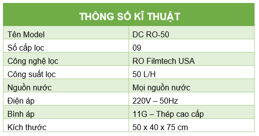 Thong so ki thuat RO DC50