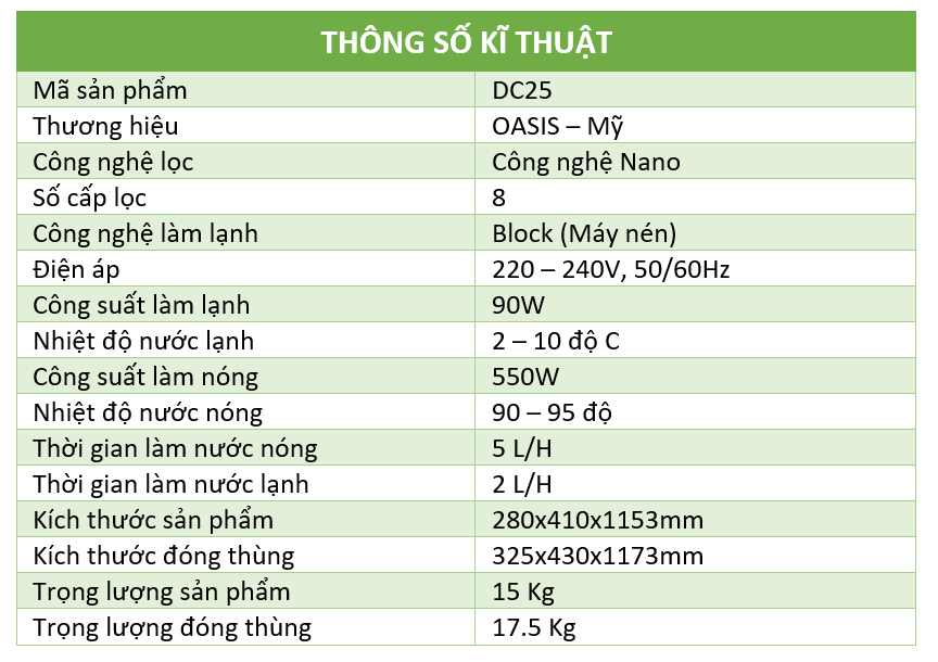 thong-so-ki-thuat-may-nong-lanh-oasis-dc25