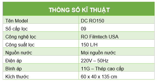Thong so ki thuat RO150l