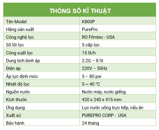 thong so K800P